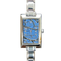 Leafless Tree Branches Against Blue Sky Rectangle Italian Charm Watches