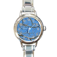 Leafless Tree Branches Against Blue Sky Round Italian Charm Watches