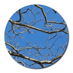 Leafless Tree Branches Against Blue Sky Round Mousepads