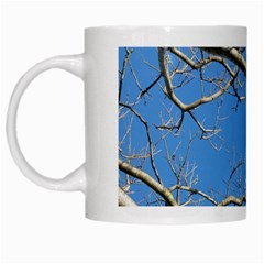 Leafless Tree Branches Against Blue Sky White Mugs
