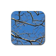 Leafless Tree Branches Against Blue Sky Rubber Coaster (Square)