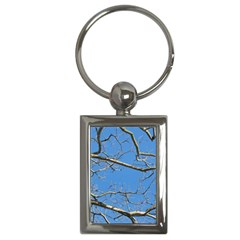 Leafless Tree Branches Against Blue Sky Key Chains (Rectangle)