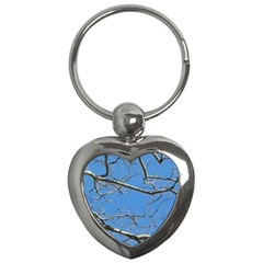 Leafless Tree Branches Against Blue Sky Key Chains (Heart)