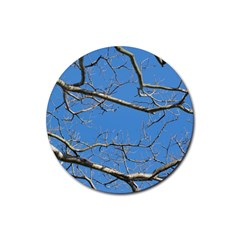 Leafless Tree Branches Against Blue Sky Rubber Coaster (Round)