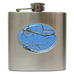 Leafless Tree Branches Against Blue Sky Hip Flask (6 oz)