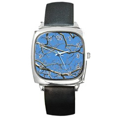 Leafless Tree Branches Against Blue Sky Square Metal Watches