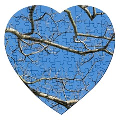 Leafless Tree Branches Against Blue Sky Jigsaw Puzzle (Heart)