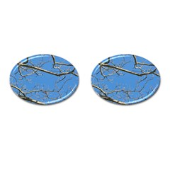 Leafless Tree Branches Against Blue Sky Cufflinks (Oval)