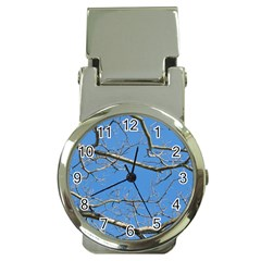 Leafless Tree Branches Against Blue Sky Money Clip Watches