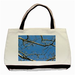 Leafless Tree Branches Against Blue Sky Basic Tote Bag