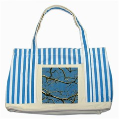 Leafless Tree Branches Against Blue Sky Striped Blue Tote Bag