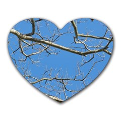 Leafless Tree Branches Against Blue Sky Heart Mousepads
