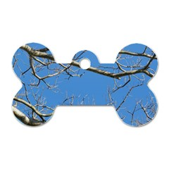 Leafless Tree Branches Against Blue Sky Dog Tag Bone (One Side)