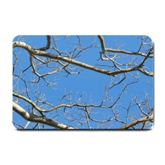 Leafless Tree Branches Against Blue Sky Small Doormat