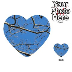 Leafless Tree Branches Against Blue Sky Multi-purpose Cards (Heart)