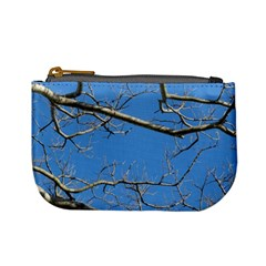 Leafless Tree Branches Against Blue Sky Mini Coin Purses