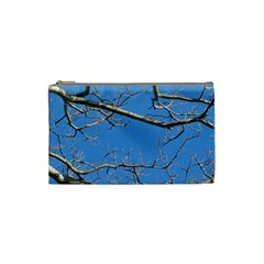 Leafless Tree Branches Against Blue Sky Cosmetic Bag (Small)