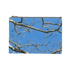 Leafless Tree Branches Against Blue Sky Cosmetic Bag (Large)