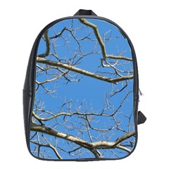 Leafless Tree Branches Against Blue Sky School Bags(Large)