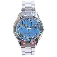 Leafless Tree Branches Against Blue Sky Stainless Steel Men s Watch
