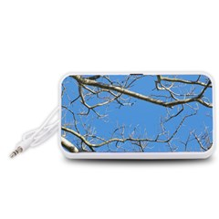 Leafless Tree Branches Against Blue Sky Portable Speaker (White)