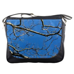 Leafless Tree Branches Against Blue Sky Messenger Bags