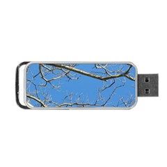 Leafless Tree Branches Against Blue Sky Portable USB Flash (One Side)