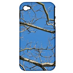 Leafless Tree Branches Against Blue Sky Apple iPhone 4/4S Hardshell Case (PC+Silicone)