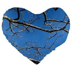 Leafless Tree Branches Against Blue Sky Large 19  Premium Heart Shape Cushions