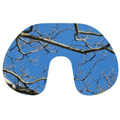 Leafless Tree Branches Against Blue Sky Travel Neck Pillows
