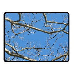 Leafless Tree Branches Against Blue Sky Double Sided Fleece Blanket (Small)