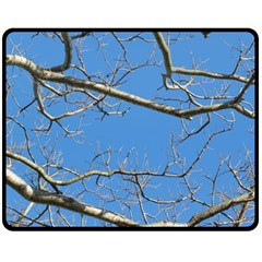 Leafless Tree Branches Against Blue Sky Double Sided Fleece Blanket (Medium)