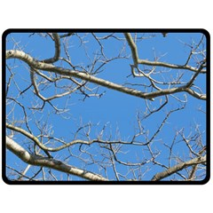 Leafless Tree Branches Against Blue Sky Double Sided Fleece Blanket (large)