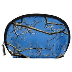 Leafless Tree Branches Against Blue Sky Accessory Pouches (Large)