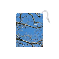 Leafless Tree Branches Against Blue Sky Drawstring Pouches (Small)