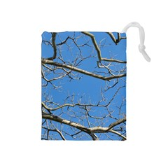 Leafless Tree Branches Against Blue Sky Drawstring Pouches (Medium)