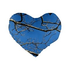 Leafless Tree Branches Against Blue Sky Standard 16  Premium Flano Heart Shape Cushions