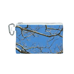Leafless Tree Branches Against Blue Sky Canvas Cosmetic Bag (S)