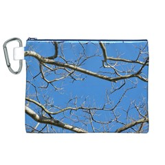 Leafless Tree Branches Against Blue Sky Canvas Cosmetic Bag (XL)