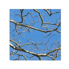 Leafless Tree Branches Against Blue Sky Small Satin Scarf (Square)