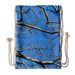 Leafless Tree Branches Against Blue Sky Drawstring Bag (large)