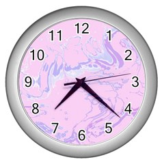 Unique Marbled 2 Baby Pink Wall Clocks (Silver)