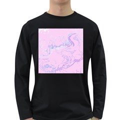 Unique Marbled 2 Baby Pink Long Sleeve Dark T-Shirts