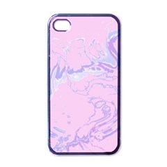Unique Marbled 2 Baby Pink Apple iPhone 4 Case (Black)