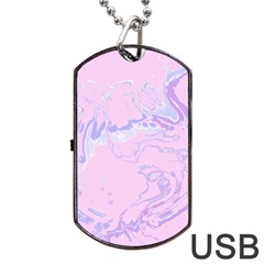 Unique Marbled 2 Baby Pink Dog Tag USB Flash (One Side)