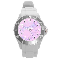Unique Marbled 2 Baby Pink Round Plastic Sport Watch (L)