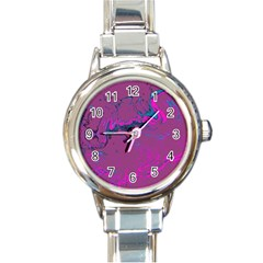 Unique Marbled 2 Hot Pink Round Italian Charm Watches