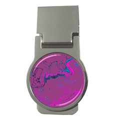 Unique Marbled 2 Hot Pink Money Clips (Round)