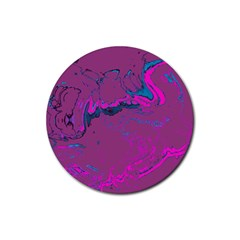 Unique Marbled 2 Hot Pink Rubber Coaster (Round)