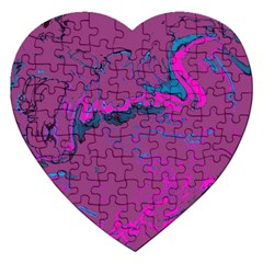 Unique Marbled 2 Hot Pink Jigsaw Puzzle (Heart)